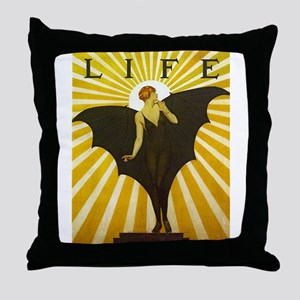 Art Deco Bat Lady Pin Up Flapper Throw Pillow